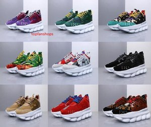 2019 Luxury Chain Reaction Brand Mens Designer Shoes Trainers Casual Ace Shoes Lightweight Chain-linked Rubber Designer Sneakers 36-45