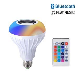 E27 Smart LED Light RGB Wireless Bluetooth Speakers Bulb Lamp Music Playing Dimmable Music Player Audio with 24 Keys Remote Control