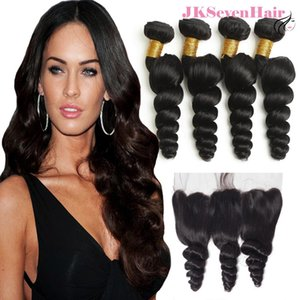 10A Remy Virgin Brazilian Human Hair 4 Bundles With 13x4inch Lace Frontal Wholesale Loose Wave Malaysian Peruvian Indian Weave Extension Wefts For Black Women