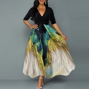 African Dresses V neck Vintage Peacock Printed Retro Womens Summer 2020 half Sleeve Plus Size Long Maxi High Waits Evening Party Dresses