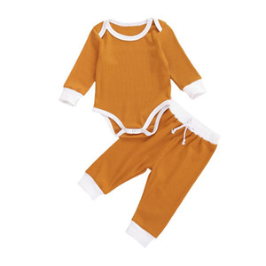 Autumn Winter Newborn Kid Baby Girl Boy Clothes Sets Knit Solid Long Sleeve Romper Top Pants Leggings Outfit Set 0-24M