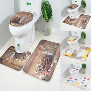 Toiletten-Abdeckung 3PCS WC Ostern Griffige Sauggriffvorrichtungen Badmatte Badezimmer Küche Teppich Fußmatte Wohnkultur Toilettensitzabdeckung # 30