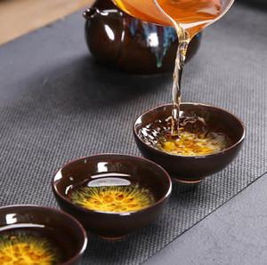 2020 6pcs Kung fu tea set Ceramic Tea cup chinese travel set Coffee cups flower Teacup