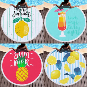 150x150cm Round Digital Printing Towel Microfiber Fringe Bath Loop Towels Sweet Summer Print Blanket Swim Use European Style Lemon 28dm B2