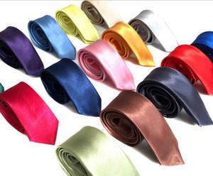 120PCS MEN 5cm solid color Silk Ties Solid Celebrity Pajaritas Gravata Slim Mens Neck Skinny Tie R220