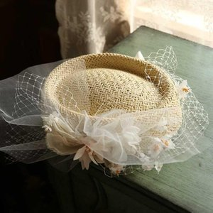 2020 main Mini Straw Hat Fascinator Couvre-chef Printemps Fleur Veil Staw mariage Headress Mesdames photo Coiffes Shoot