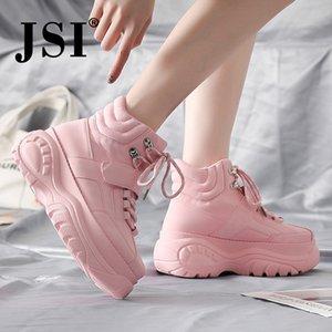JSI Sólidos Toe Rodada Mulheres Casual Lace-Up microfibra Flats High Top Chunky Plataforma Sneakers Senhoras sapatos jx41 CX200720
