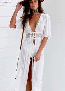 Women Blouse Bikini Swimsuit Cover Up Robe Plage Beach Boho Women Summer Beach Long Blouse White Shirt Blusa Feminina