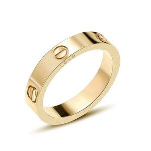 Clássico Marca aço de titânio anéis anéis amor para Casais Mulheres Homens Screw amor anel com Cubic Zirconia anéis de casamento 4mm e 6mm