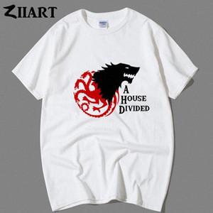 Stark Targaryen Gri Direwolf Üç Başlı Ejderha Bir Ev Bölünmüş Çift Giyim Erkek Erkek Erkek Ç Yaka Kısa Kollu T Shirt Trendy T Sh vy4n #