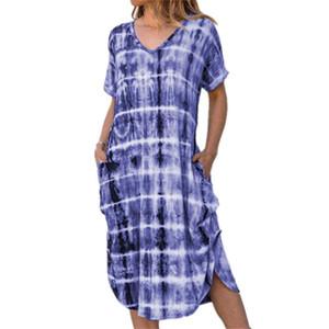 Casual femmes Robes coton mélangé à manches courtes imprimé Dyeing col en V Robe ample été Bohemian Voyage Holiday Beach Dress