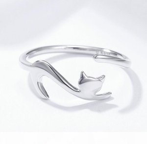 J S925 Kitten Open Ring For Women Elegant Cat Simple Personality Wedding Rings Of Lovers Sterling Silver Ring 2020 Newest Fine Jewelry