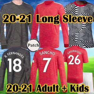 2020 2021 Top FC GREENWOOD Rashford Pogba SANCHO manga comprida camisa de futebol Manchester BRUNO FERNANDES REINO Utd camisa homem do futebol Kit Crianças