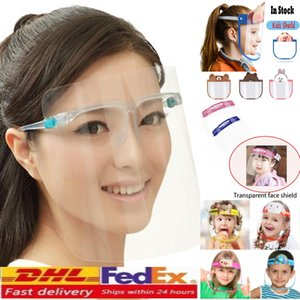 US STOCK, Máscara Protetora Facial com óculos de proteção, Kids Transparente prova de vento Máscara Facial Escudo Anti poeira / Fog Anti respingo Limpar Protective
