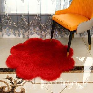 Künstliche Wolle Blumenart Volltonfarbe Teppich Schlafzimmer Nachtplüsch flauschiger Fußmatte Couchtisch Sofadekoration zu Hause Teppich