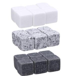 pedras de uísque 6pc / Saco dos cubos de gelo da geleira refrigerador Pedra uísque Rochas Ice Pedra Barware suprimentos Ferramentas Kitchen Bar Brinquedos GGA3591-1