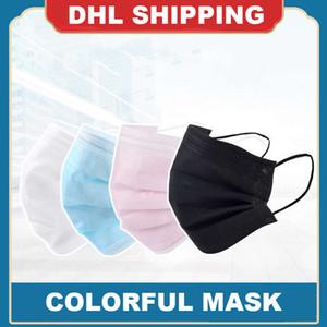 Tek kullanımlık yüz maskeleri yetişkin çocuklar maskeleri renkli maske 3 Katman Balck Toz Ağız Maskeleri Kapak 3-Kat ücretsiz kargo çocuklar Dokumasız
