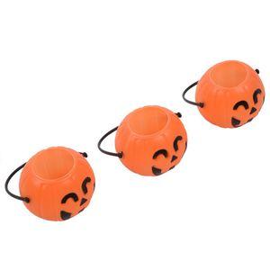 Pumpkin Candy Holder 12 Mini Trick-or-treat Halloween Candy Bucket:Orange