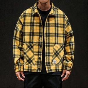 XIU LUO 2020 Winter Men's Yellow Black Plaid Jackets Woolen Outwear Japanese Streetwear Man Casual Slim Coats Large size 5XL