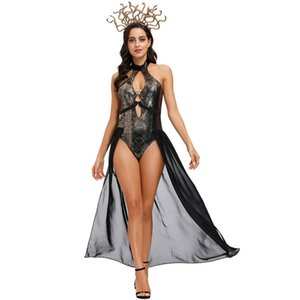 COS Costumes Hydra Sorcière Sexy Femmes Masquerade Costume couleur unie évider Backless Femmes Jumpsuit Halloween Cosplay Vêtements