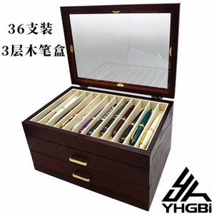Wooden Urushi Pen Display Case 36 Pens with transparent lacquer xvJy#