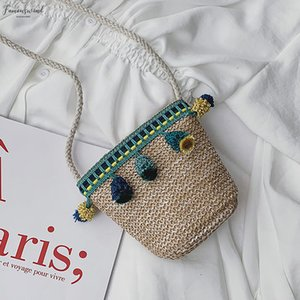 Women Crossbody Handbag Weaving Summer Beach Bag Straw Woven Bag Handmade Rattan Woven Vintage Straw Rope Knitted