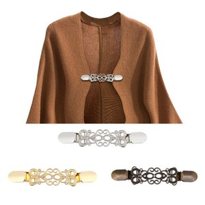 Woman Sweater Clip Women Alloy Inlay Drill Cardigan Clothes Connection Buckle Golden Sliver Copper Color Collar Bar Creative 3 2bz L1