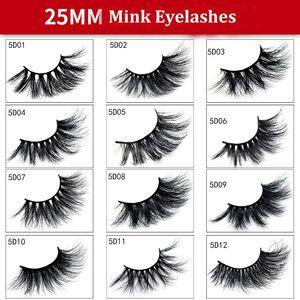 Falso 25 milímetros 5D Mink cabelo cílios 3D Mink cabelo grosso Magro Cílios