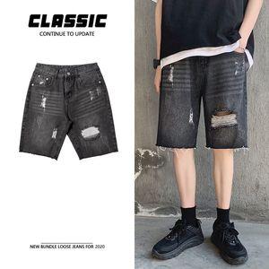 Summer Ripped Denim Shorts Men's Fashion Retro Casual Hole Short Jeans Men Streetwear Wild Hip Hop Black Denim Shorts Mens M-2XL