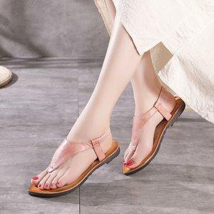 YourSeason натуральная кожа лето Резинка Женщины Обувь повседневная ретро швейного дамы национальный стиль сандалии плоские с