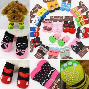 Pet Dog cat warm socks for winter Cute Puppy Dogs Soft Cotton Anti-slip Knit Weave Sock Skid Bottom Dog cat Socks Clothes HH7-2034