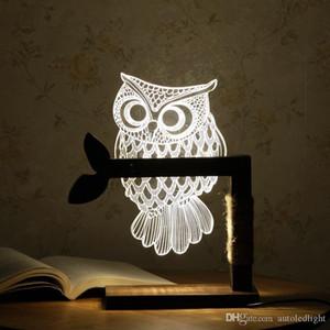 Home 3D Coruja Forma LED Desk Mesa de Luz Lâmpada Night Light EUA plug interior e Iluminação