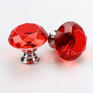 Drehknopf-Schraube Art und Weise 30mm Diamant-Kristallglas-Türgriffe Schubladenschrank Möbelgriff Drehknopf-Schraube Möbelzubehör DWD594
