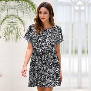 Dot A-line Summer Cascading Ruffle Above Knee, Mini Short O-neck Streetwear Natural Regular Vestidos Msfilia
