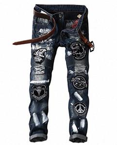 Recta patrón Slim Fit LAMCORD Hombres de Patch Denim Jeans eje de balancín punky del motorista p9Ix #