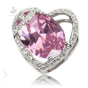 SHUNXUNZE dropshipping Promotion Wedding pendants women Jewelry & Accessories charms christmas gifts Pink Cubic Zirconia Rhodium Plated R852