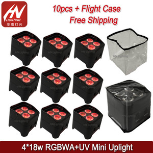10pcs with case 4*18w RGBWA UV 6in1 Wireless dmx Uplighting Battery Operate LED Par Battery Disco Wedding Uplights dj par with rain cover
