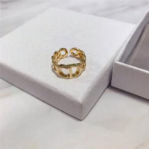 Gioielleria cava lettera classica di modo degli anelli della catena dell'oro Ring Girl Aperto Anelli coppia di Hip Hop del partito delle donne Anello