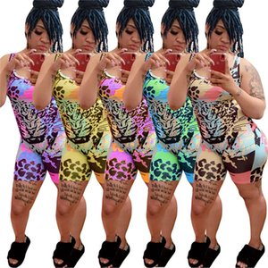 Women leopard Printed spaghetti strap jumpsuits Colorful rompers Shorts bodysuits sexy hot Skinny overalls Piece Pants 3202