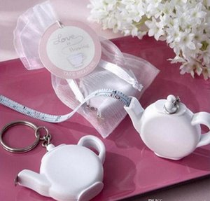 Love is Brewing Teapot Plastic Measuring Tape Keychain Portable Mini Key Chain Wedding Christmas Gift Favors