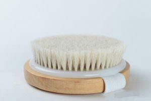 Escova corpo redondo Natural Horsehair sem punho seco banho Pele Duche Brushes spa de massagem Escovas Duche de madeira