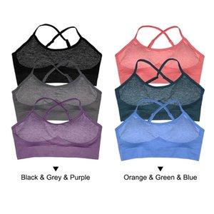 3 Pack Mulheres Wirefree Cruz Voltar Sports Bra Activewear Top com removível preenchimento para Yoga exercício da ginástica da aptidão