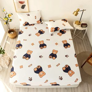 2020 New 2 3 pcs Printed Bear Fitted Sheet Mattress Cover Four Corners With Elastic Band Bed Sheet Set Pillowcases 100%Polyester