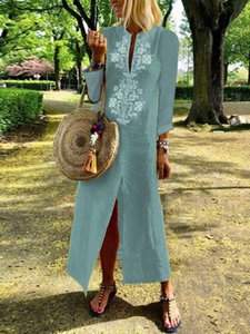 Boho Cotton Linen Loose Long Maxi Dress Kaftan Dresses Summer Women Casual Long Sleeve