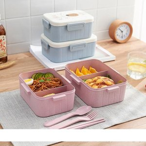 Sealed Fresh Lunch Box Wheat Fiber Environmentally Friendly Portable Compartment Lunch Box Microwave Heating Buckle Lunch Boxes