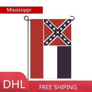 DHL FEDEX Cheapest 12''*18'' 30*45cm Mississippi Ms State flag banner garden Flags double layers customizable wholesale