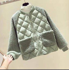 women Winter new stand zipper collar down cotton jacket stitching lamb wool cotton coat small cotton jackets coats Outerwear
