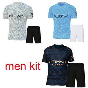 2020 2021 manchester soccer jersey city 20 21 G. JESUS MAHREZ DE BRUYNE KUN AGUERO football shirt MENDY MAN uniforms men shirt shorts kit