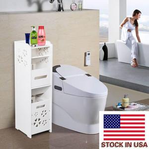bathroom storage multi layer storag cabinet with garbage 25*25*80CM toilet shelf corner shelf bathroom storage rack cabinet USA stock w