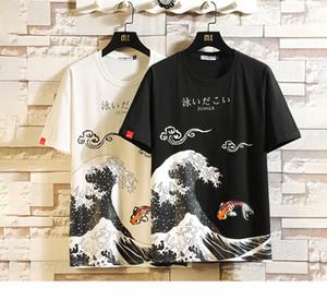 재미 애니메이션 인쇄 대형 남성 T 셔츠 힙합 코튼 T 셔츠 O 목 여름 일본어 남성 인과 티셔츠 5XL 패션 느슨한 티의 d88888
